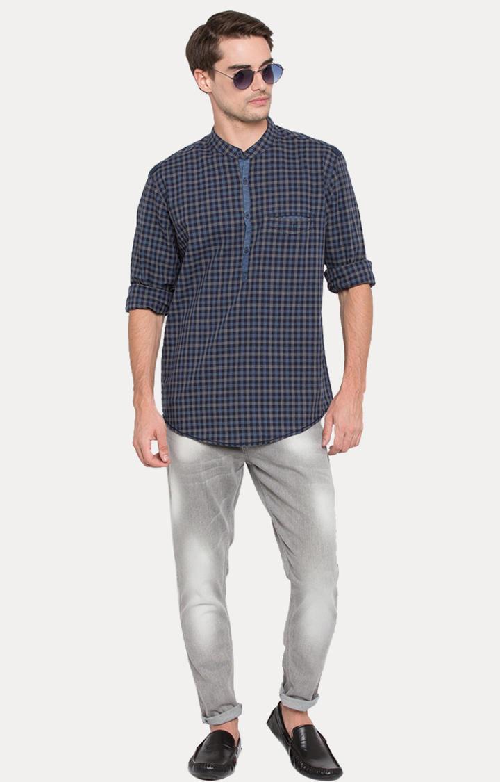 Blue Checked Slim Fit Shirts