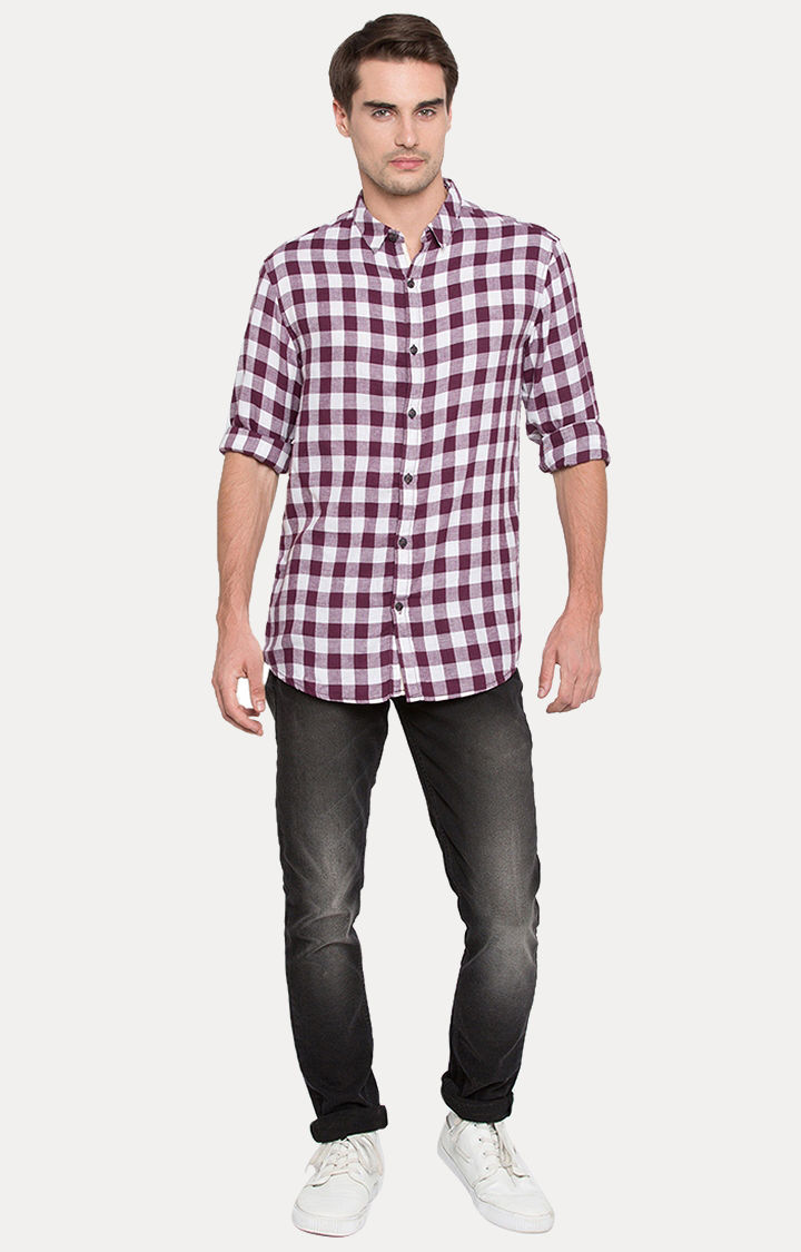 Purple Checked Slim Fit Casual Shirts
