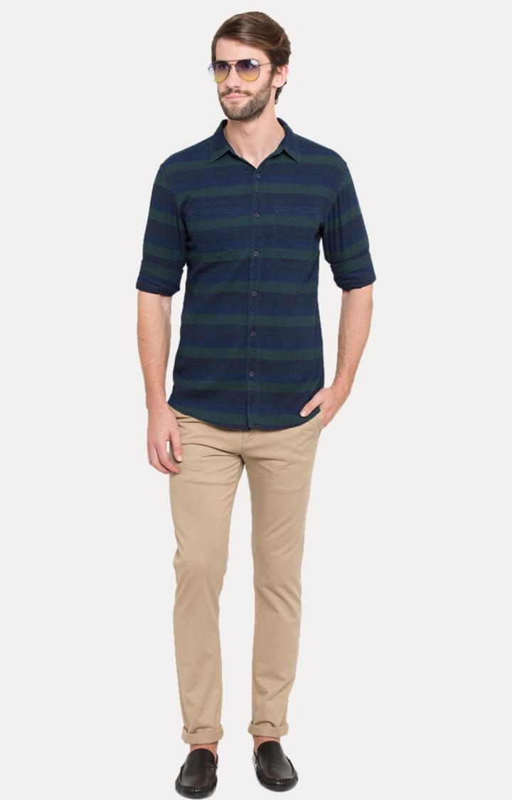 Blue Striped Slim Fit Casual Shirts
