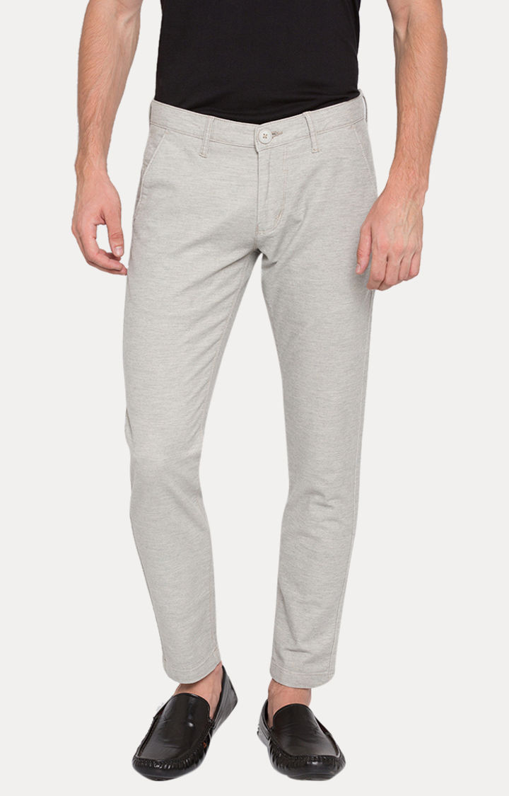 Grey Melange Slim Fit Chinos