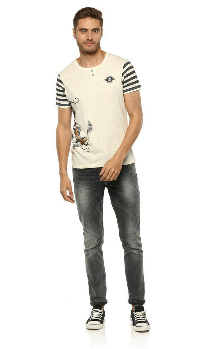 Ecru Printed Slim Fit T-Shirts
