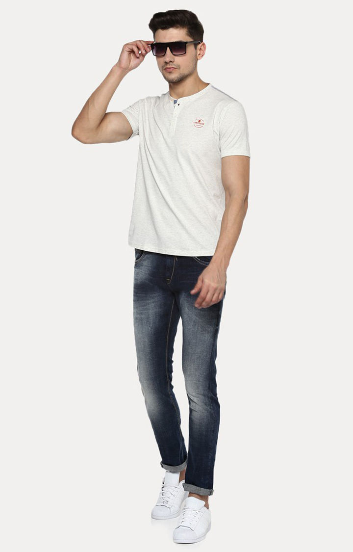 Off White Melange Slim Fit T-Shirts