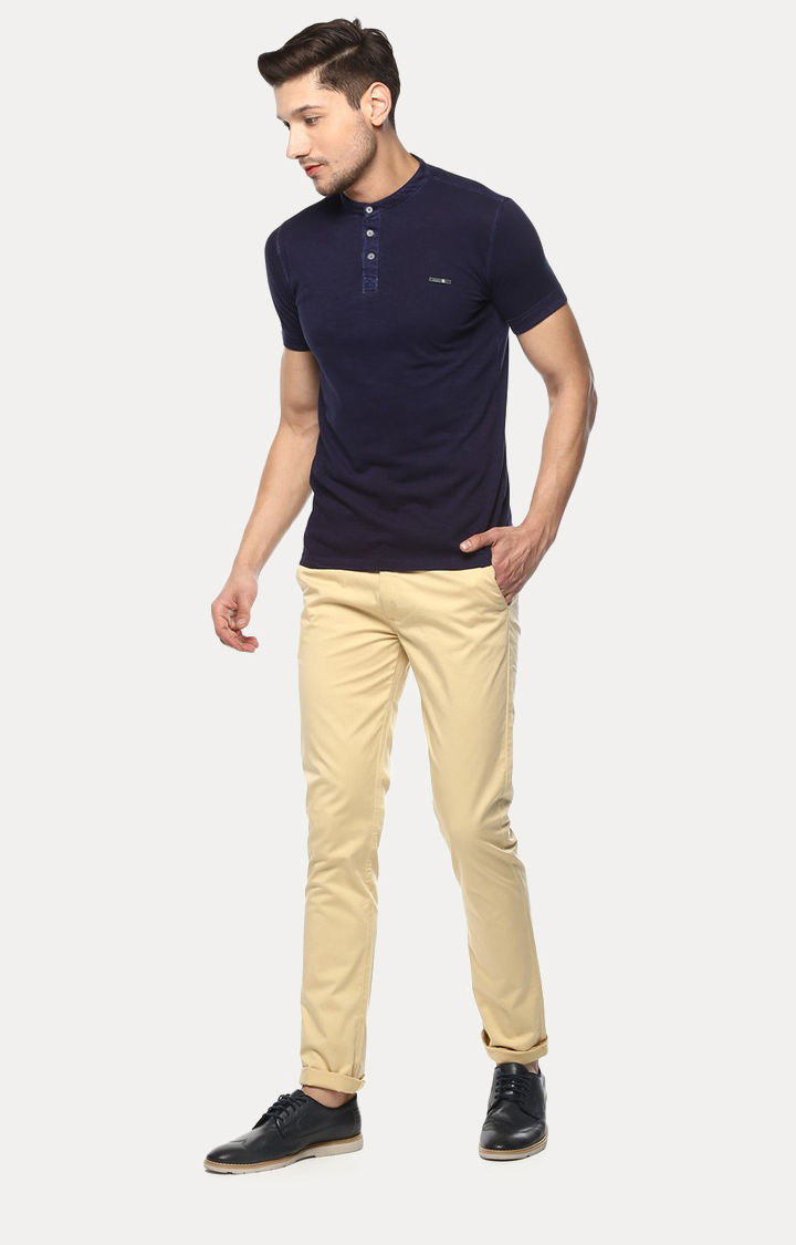 Blue Solid Slim Fit T-Shirts