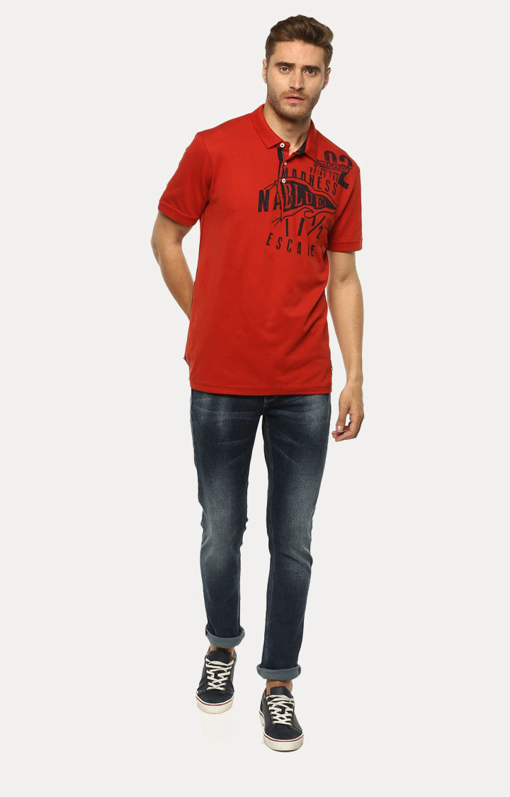 Orange Printed Slim Fit Polo T-Shirt