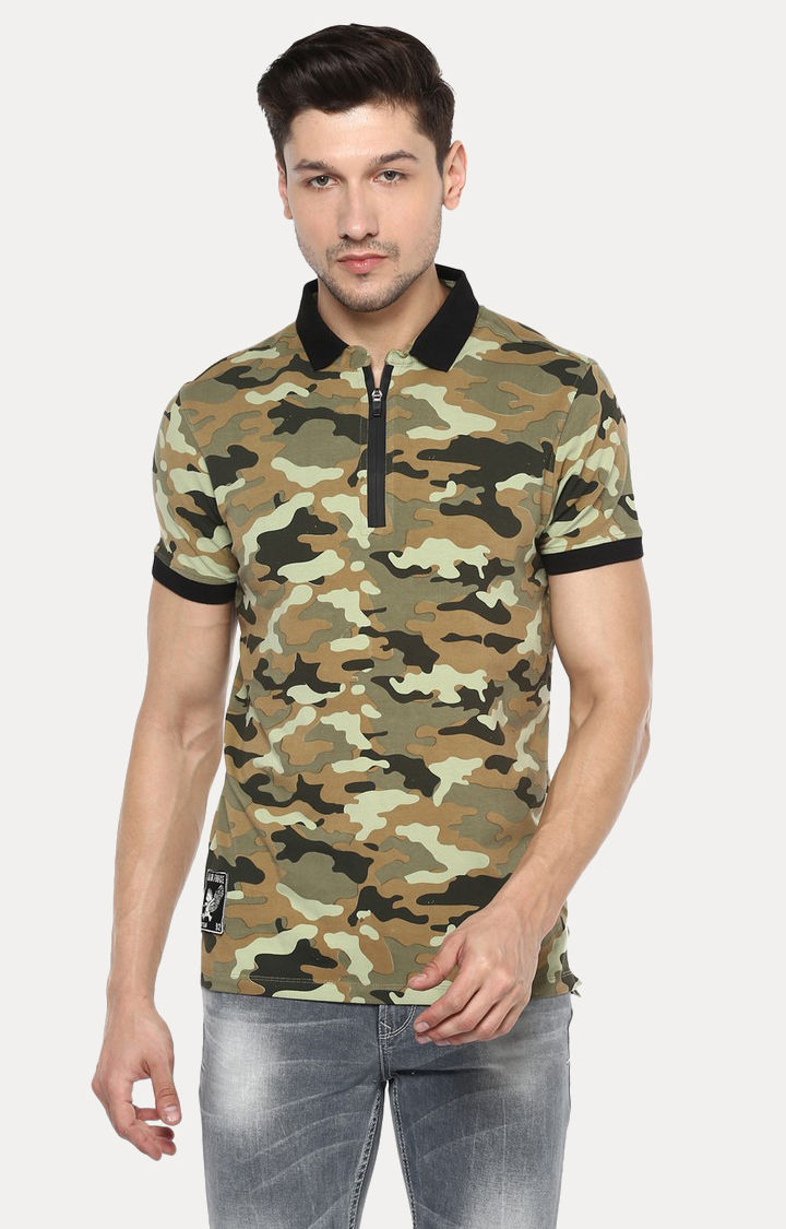 Green Printed Slim Fit Polo T-Shirt