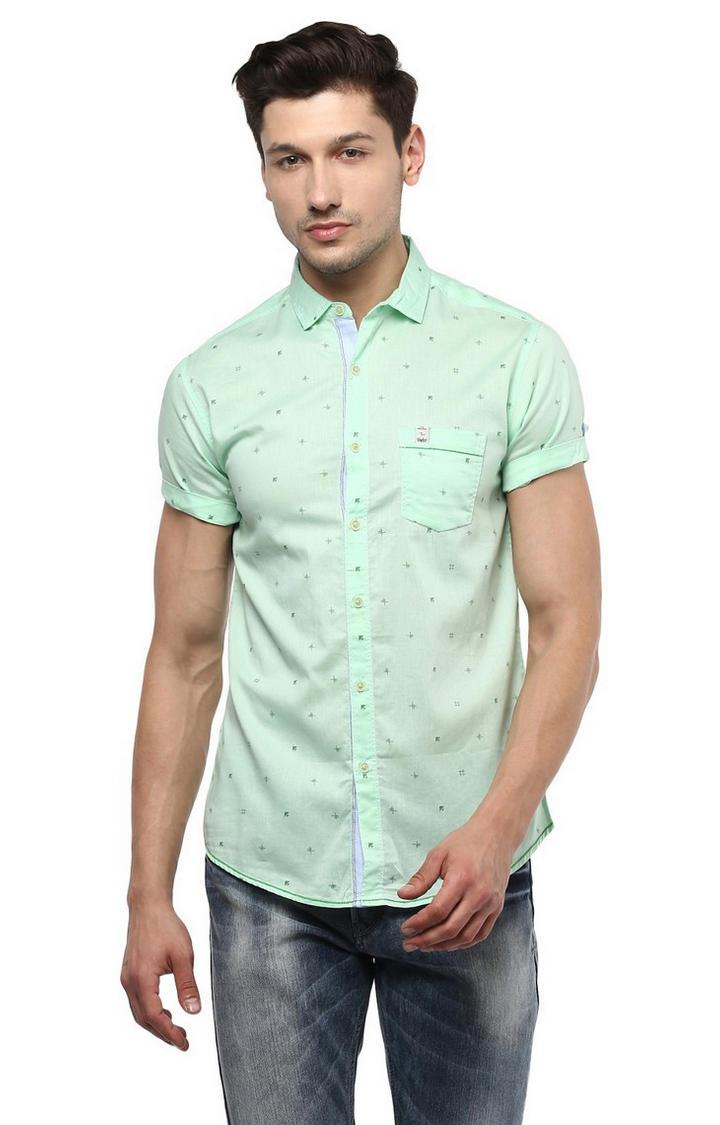 Mint Printed Slim Fit Casual Shirts