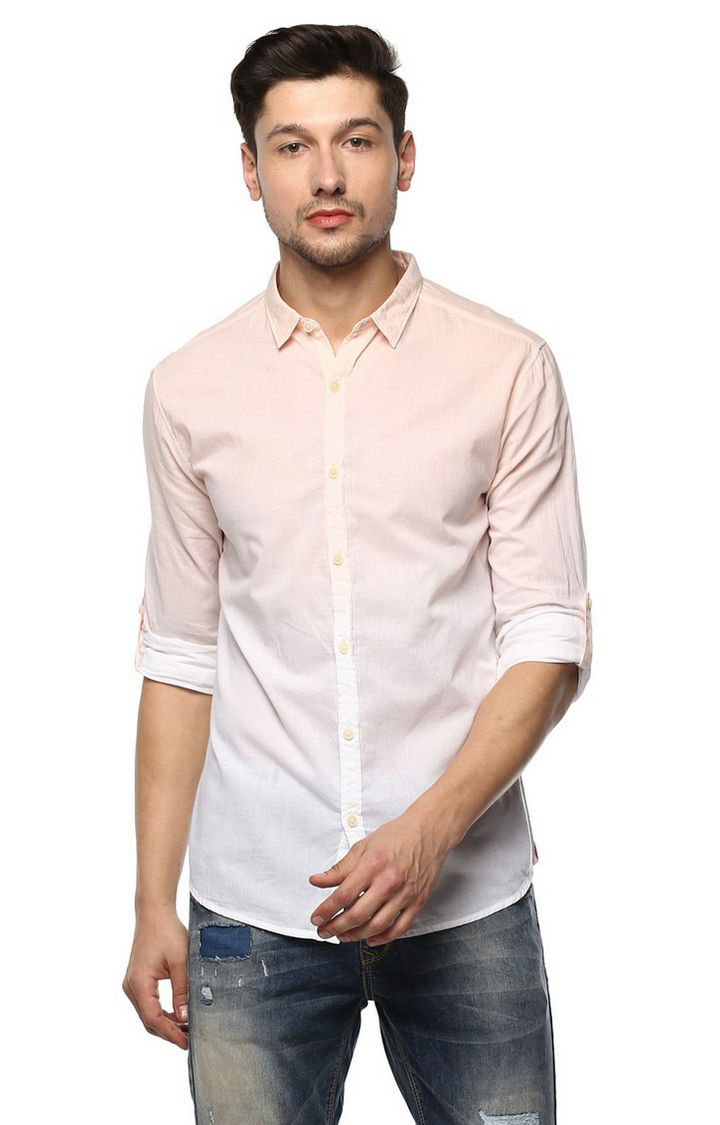 Peach Striped Slim Fit Casual Shirts