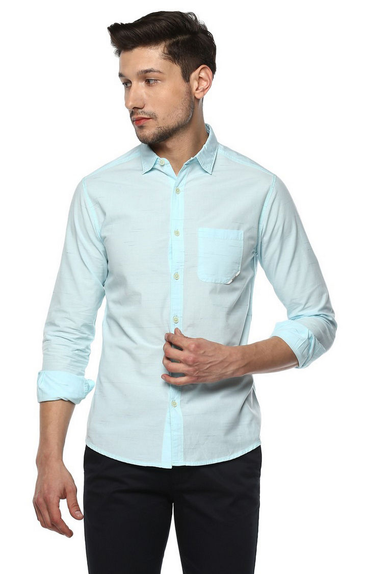 Peach Colourblock Slim Fit Casual Shirts