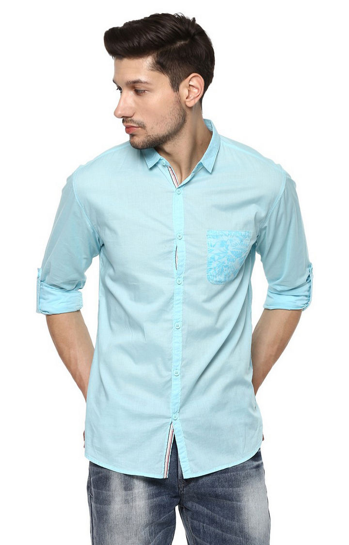 Turquoise Solid Slim Fit Casual Shirts