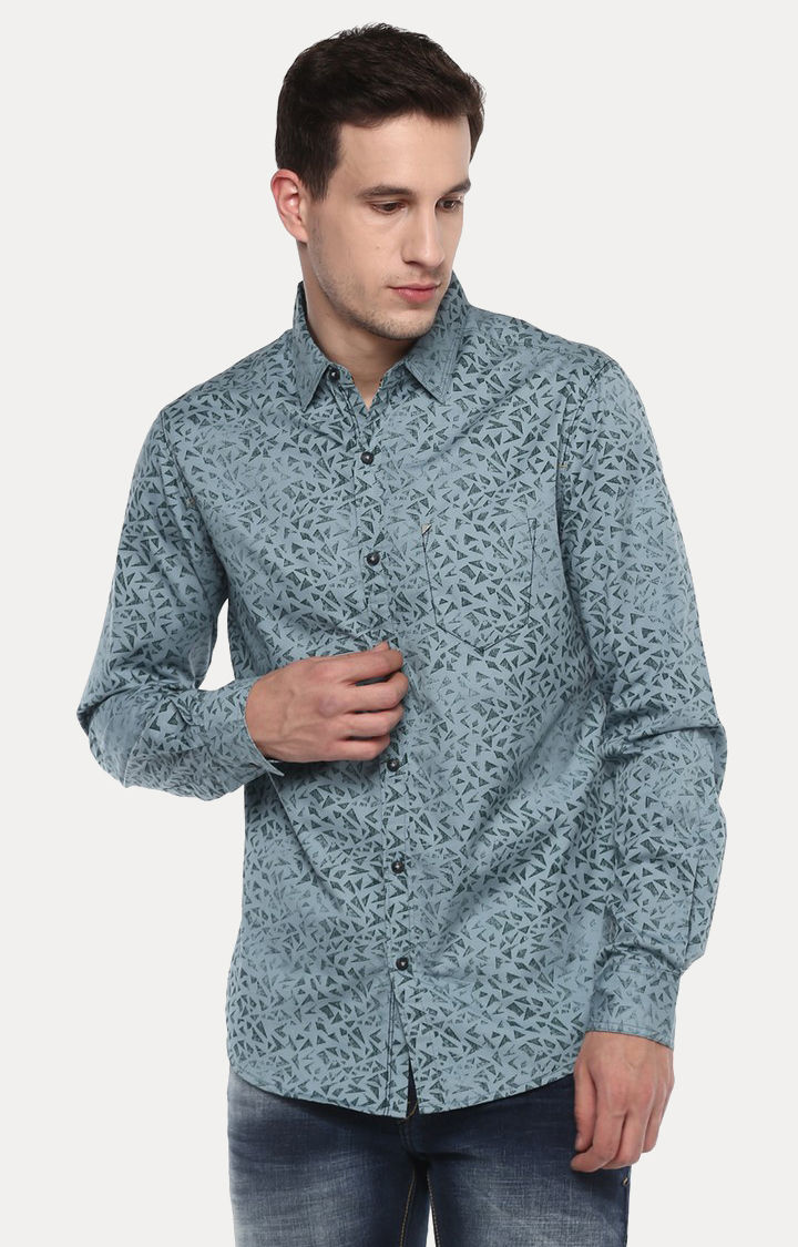 Grey Printed Slim Fit Casual Shirts
