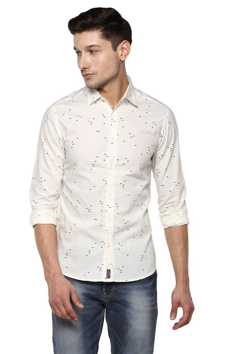 Beige Printed Slim Fit Casual Shirts