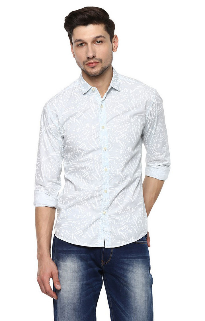 Mint Printed Slim Fit Casual Shirts