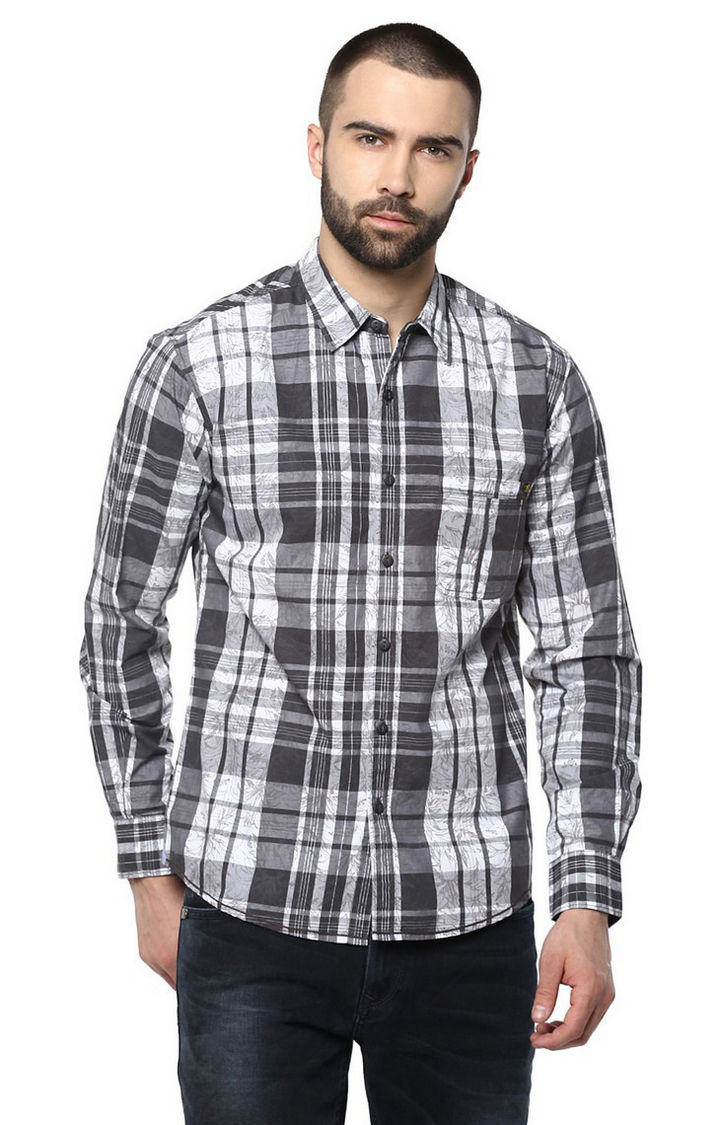 Black Checked Slim Fit Casual Shirts