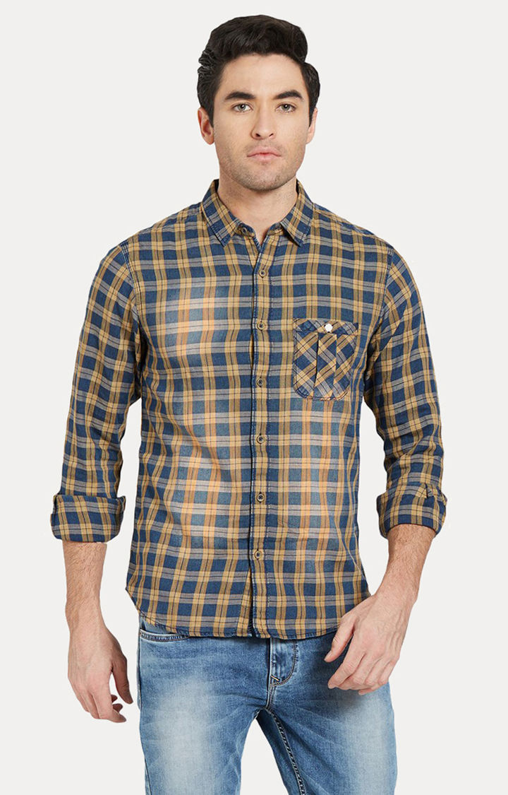 Yellow Checked Slim Fit Casual Shirts