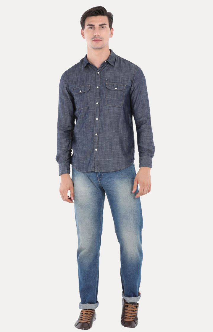 Blue Melange Slim Fit Casual Shirts