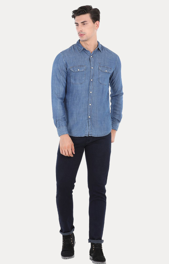 Blue Melange Slim Fit Casual Shirts