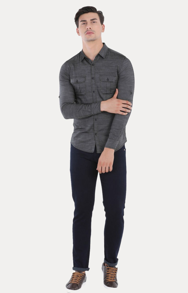 Black Melange Slim Fit Casual Shirts