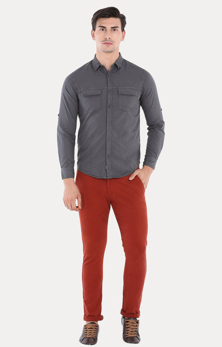 Charcoal Solid Slim Fit Casual Shirts