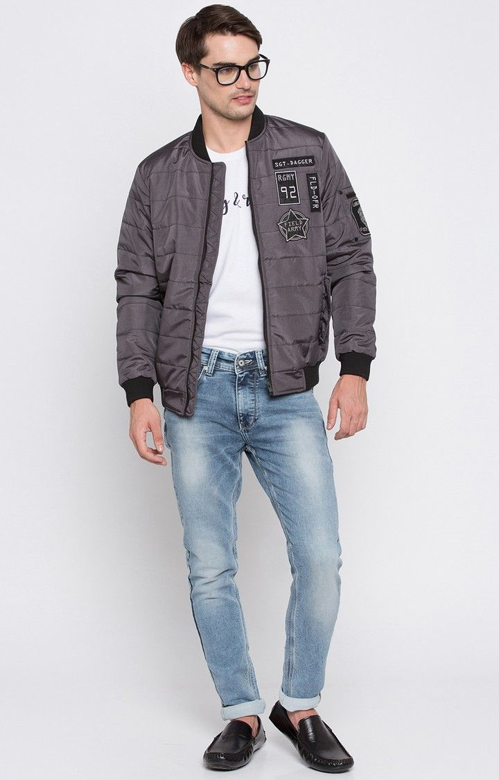 Grey Solid Regular Fit Bomber Jackets