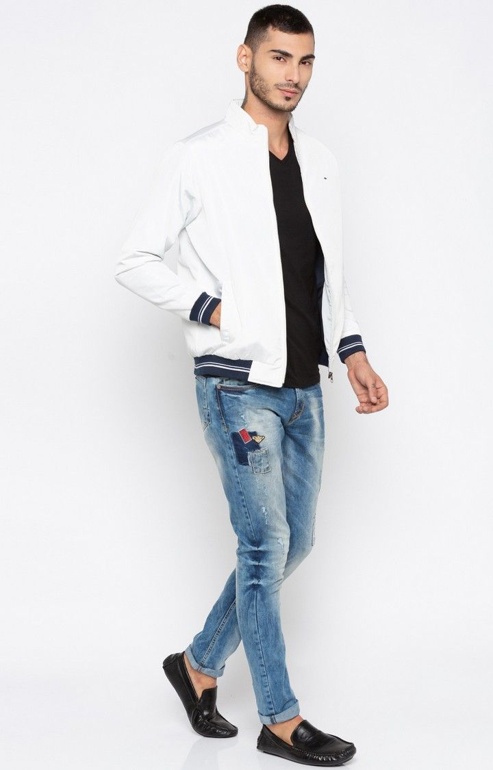 White Solid Regular Fit Bomber Jackets