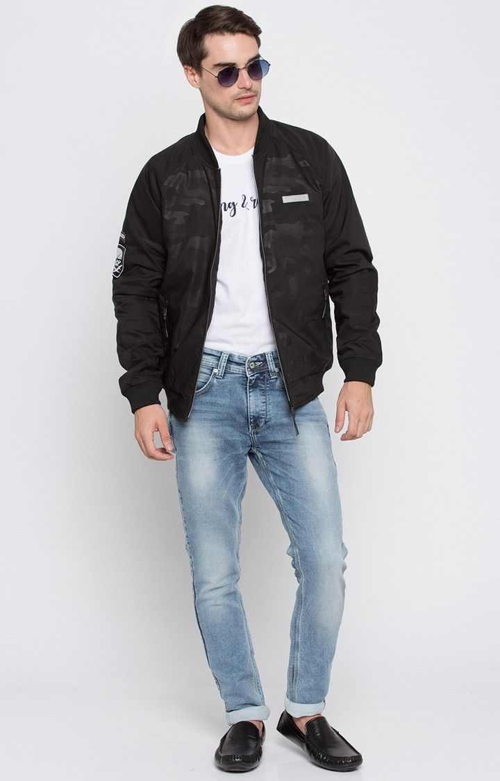 Black Camouflage Regular Fit Bomber Jackets