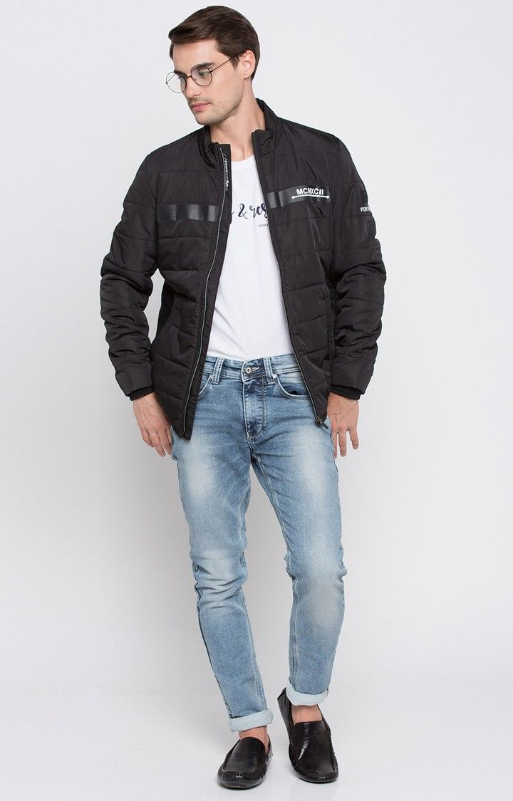 Black Solid Regular Fit Front Open Jackets