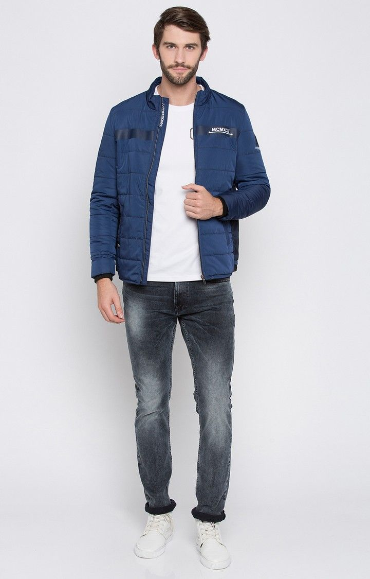 Blue Solid Regular Fit Front Open Jackets