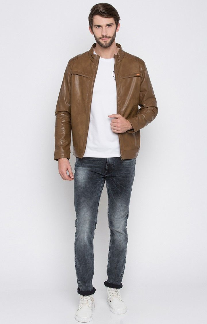 Brown Solid Regular Fit Leather Jackets