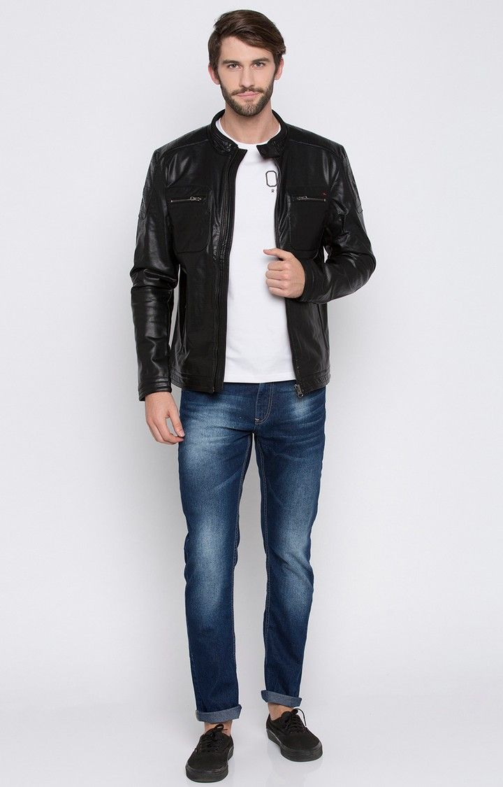 Black Solid Regular Fit Leather Jackets