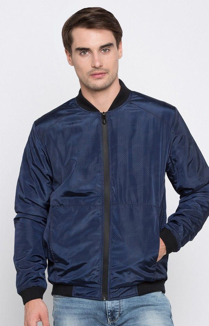 Navy Solid Regular Fit Bomber Jackets