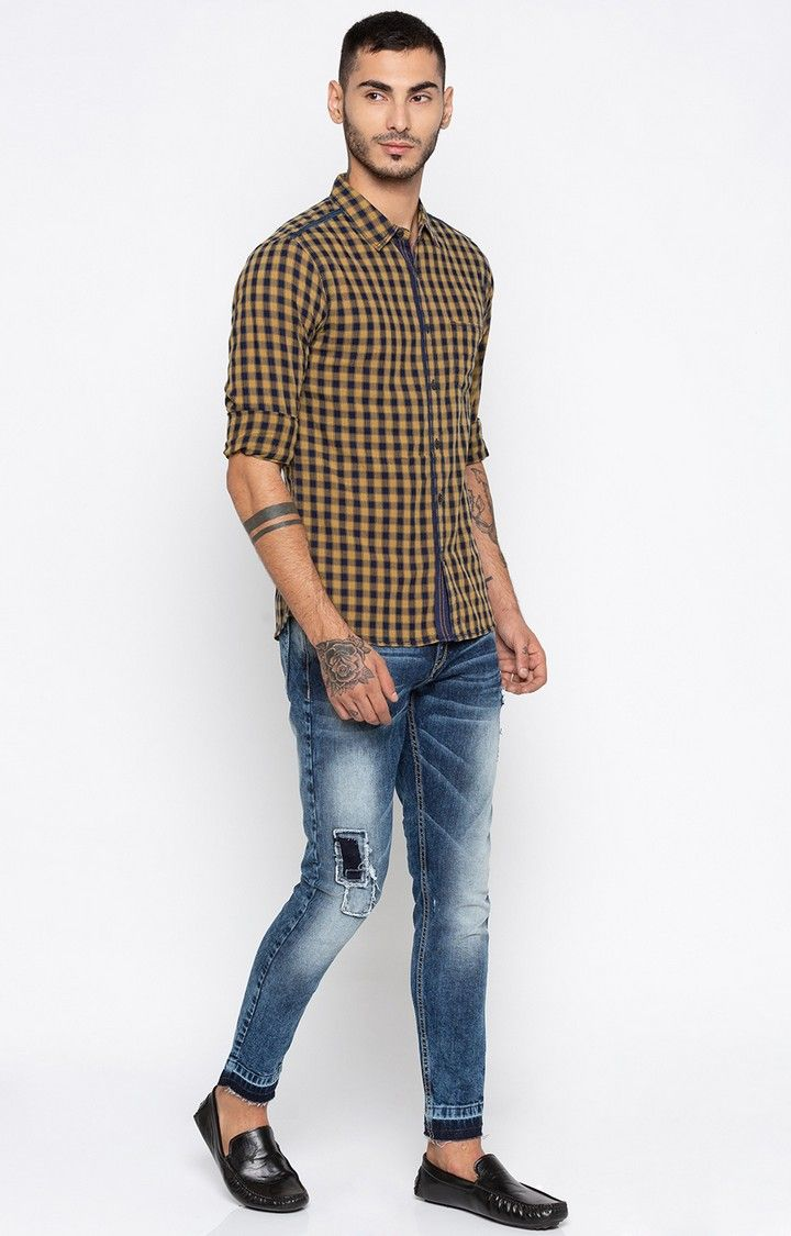 Navy & Light Brown Checked Slim Fit Casual Shirts