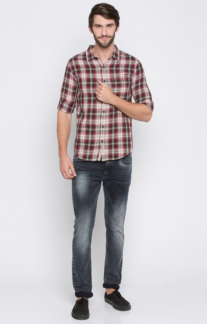 Maroon Checked Slim Fit Casual Shirts