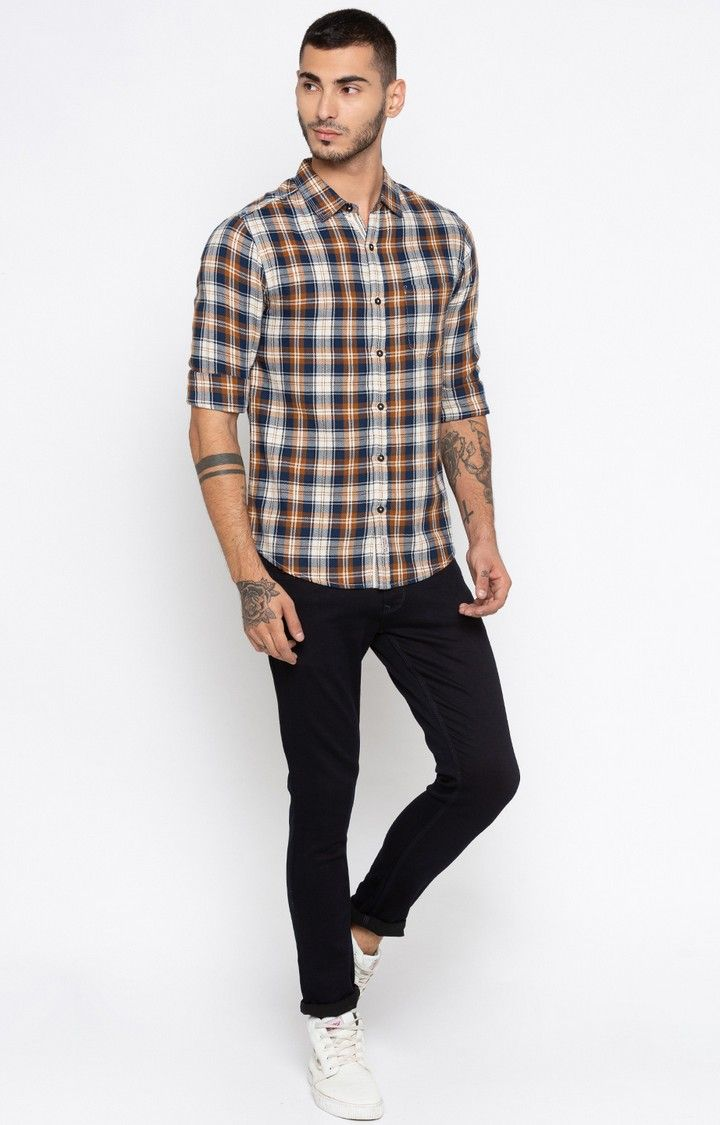 Navy & Brown Checked Slim Fit Casual Shirts