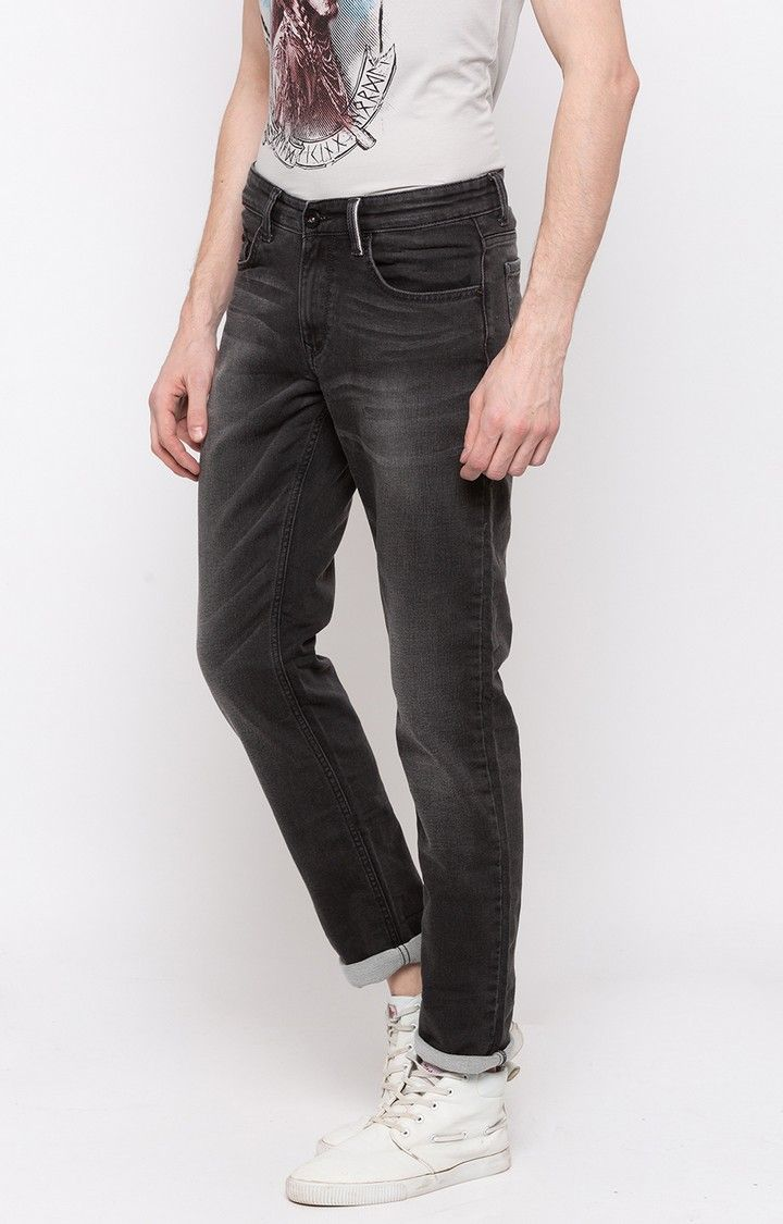 Charcoal Solid Slim Thigh Narrow Leg Fit Jeans