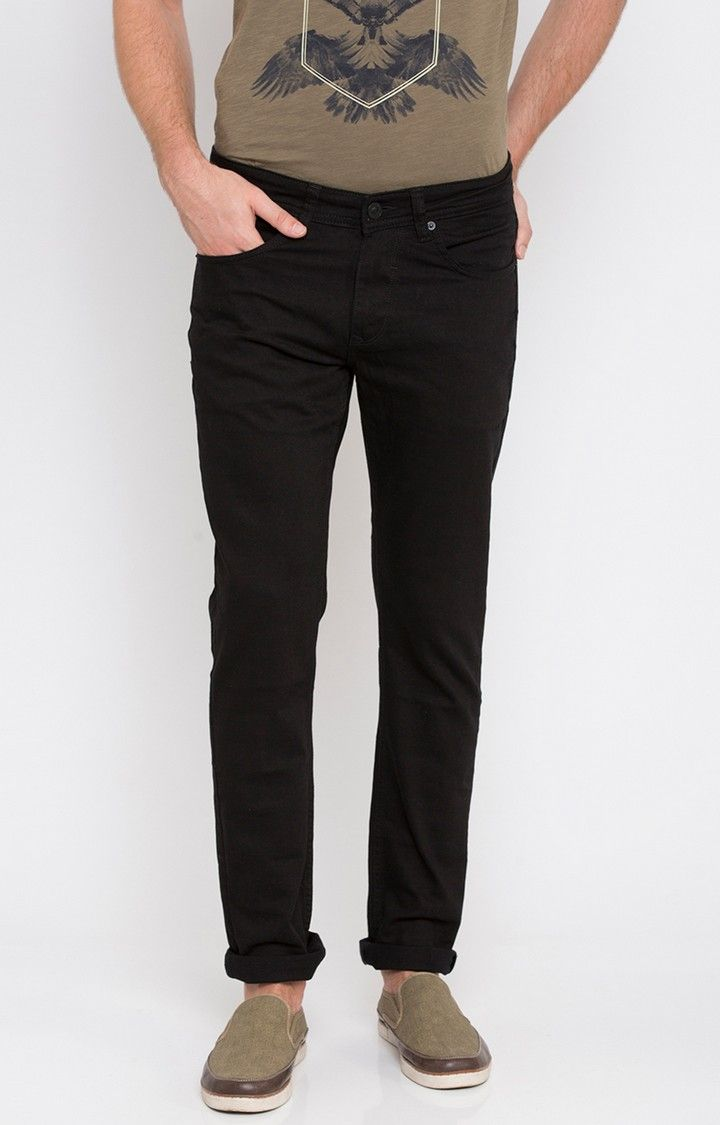Black Solid Slim Thigh Narrow Leg Fit Jeans