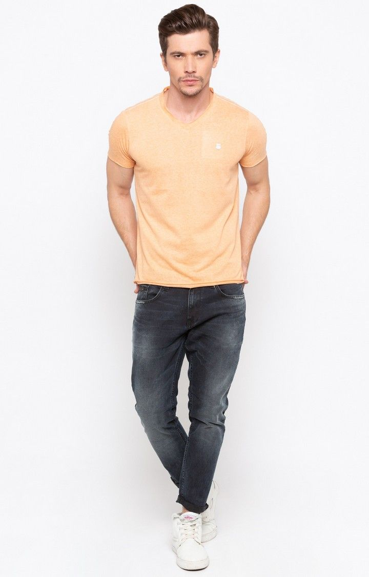 Carbon Black Solid Slim Thigh Ankle Length Fit Jeans