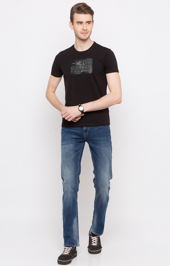 Mid Blue Solid Regular Fit Jeans