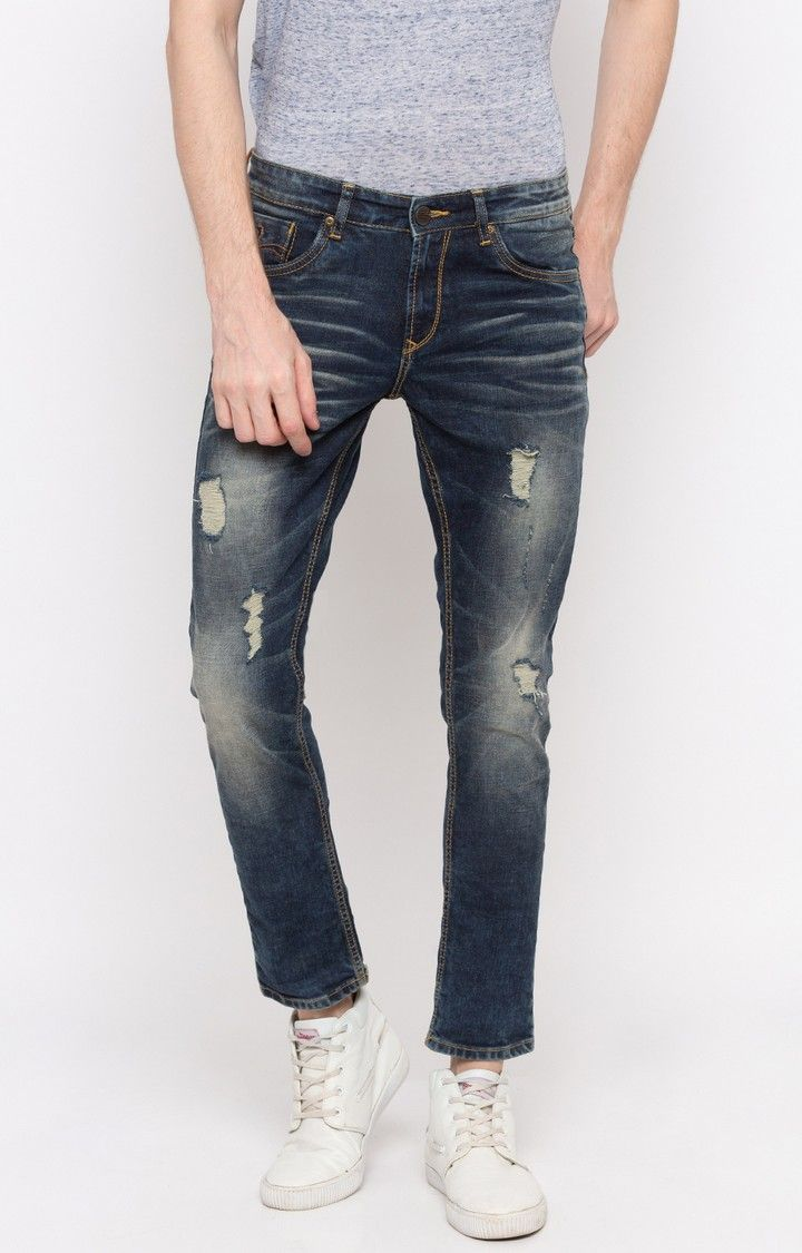 Dark Blue Ripped Skinny Fit Jeans