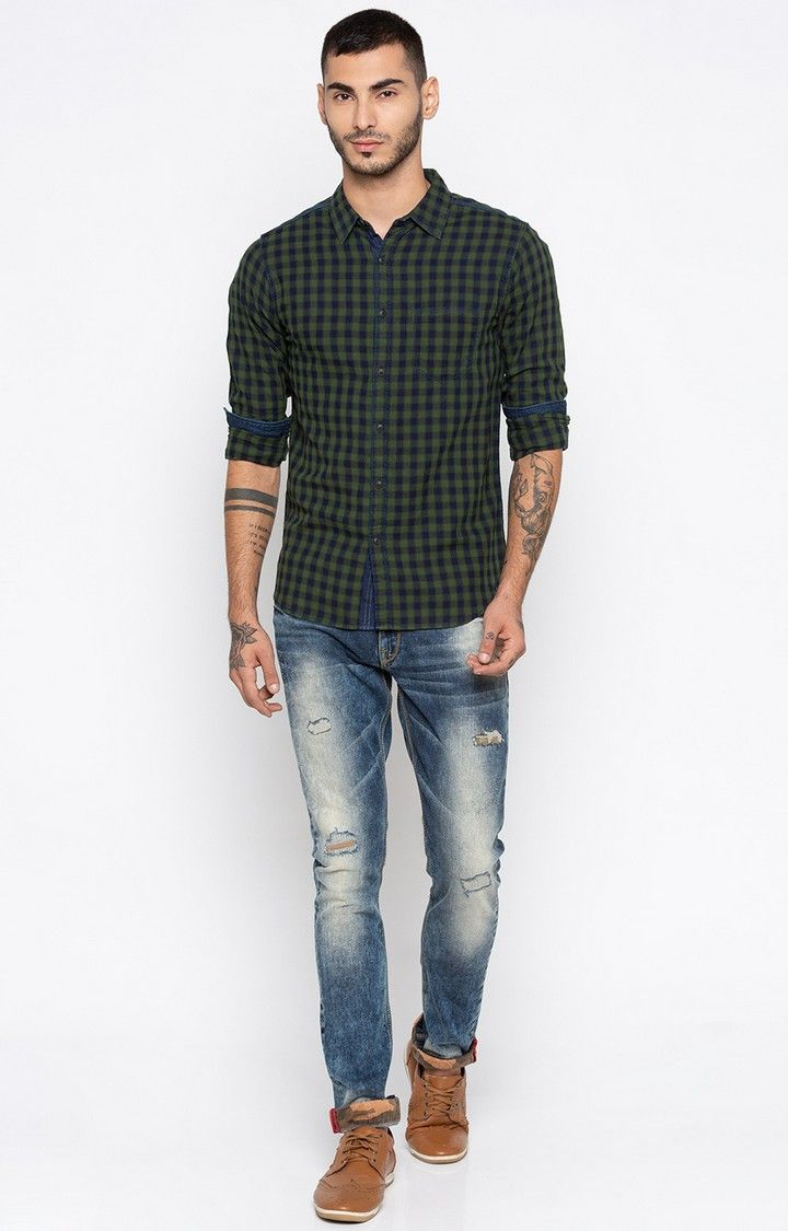 Bottle Green Checked Slim Fit Casual Shirts