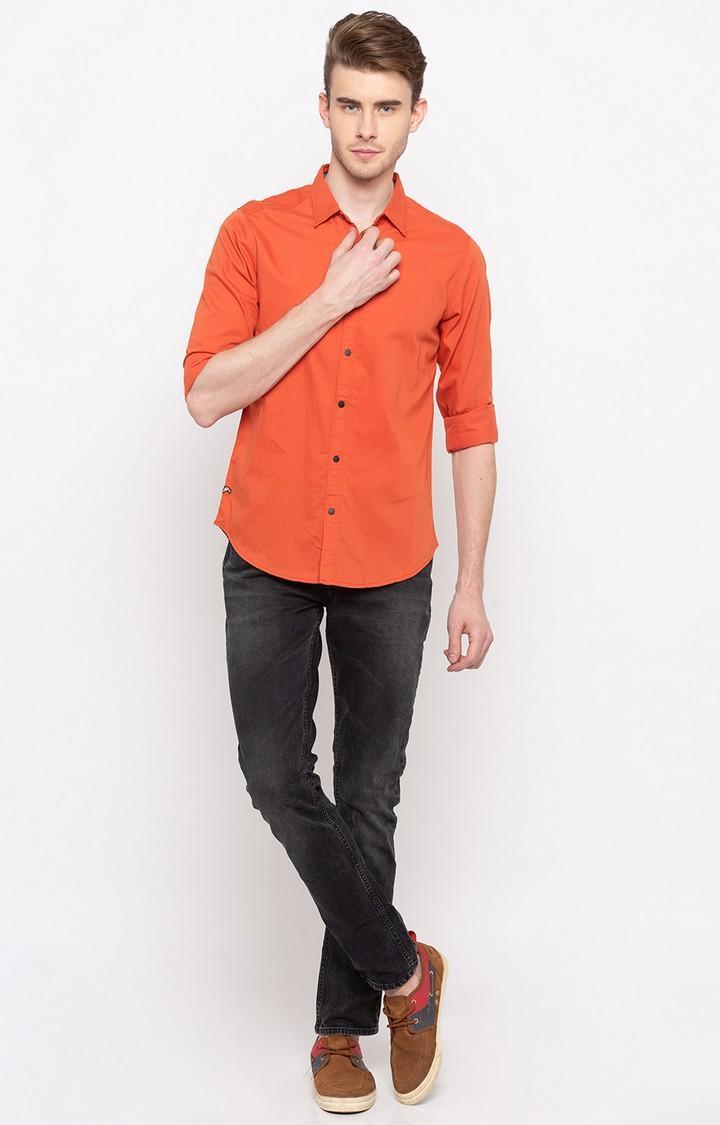Orange Solid Slim Fit Casual Shirts
