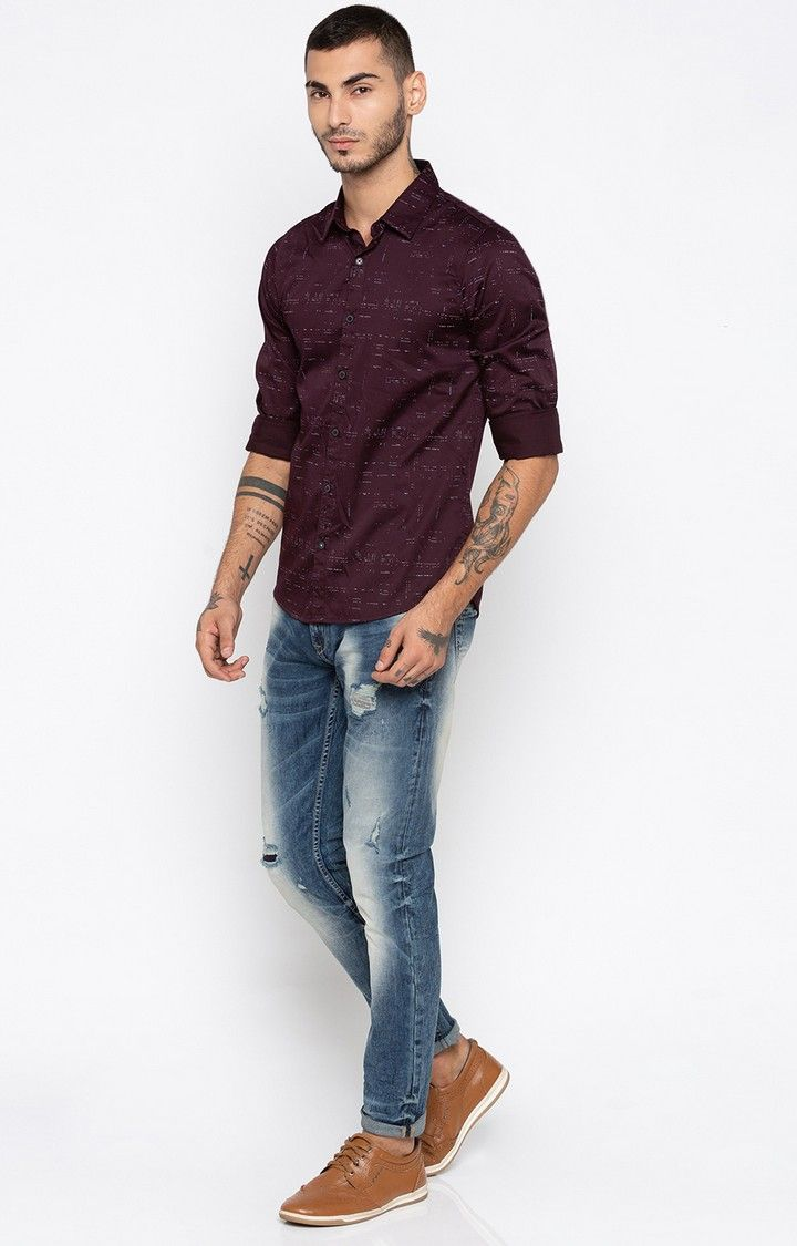 Wine Printed Slim Fit Casual Shirts