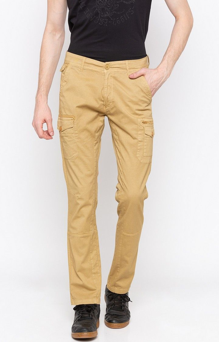 Beige Solid Slim Fit Cargos