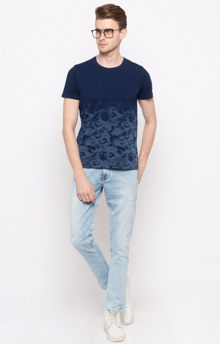 Indigo Solid Slim Fit T-Shirts