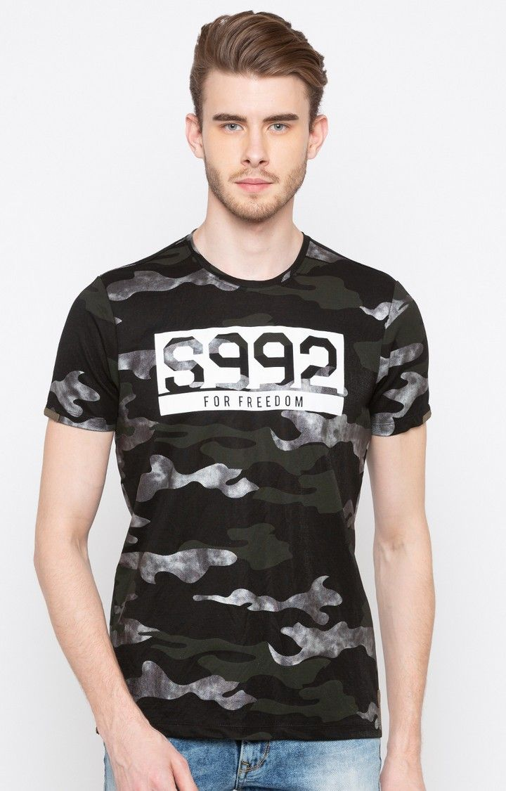 Black Camouflage Slim Fit T-Shirts