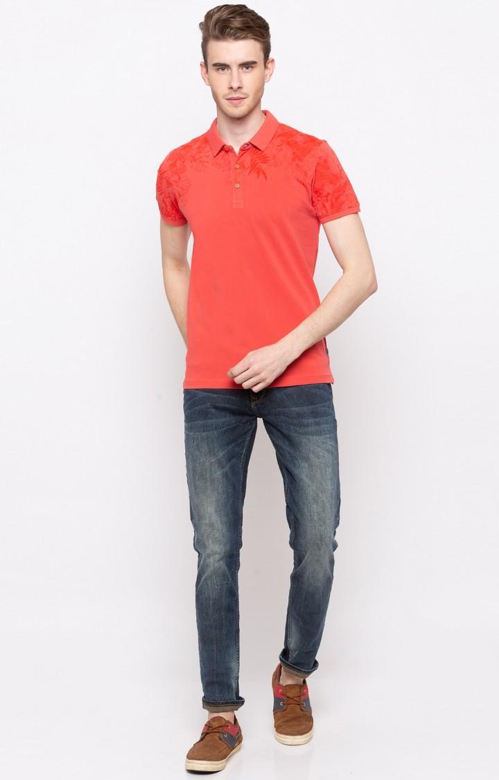 Pastle Orange Solid Slim Fit T-Shirts