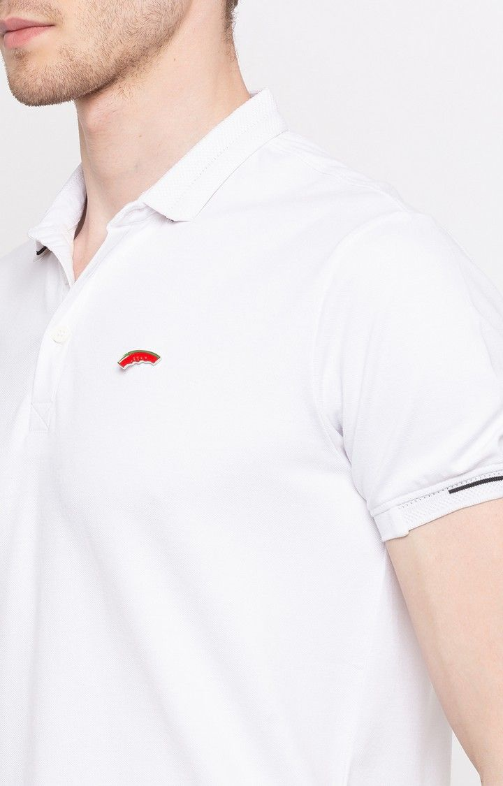 White Solid Slim Fit T-Shirts