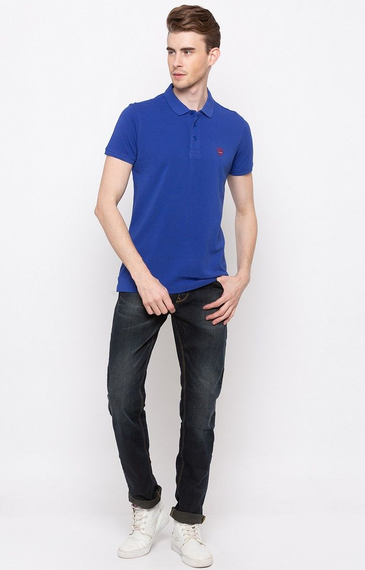 Royal Blue Solid Slim Fit T-Shirts