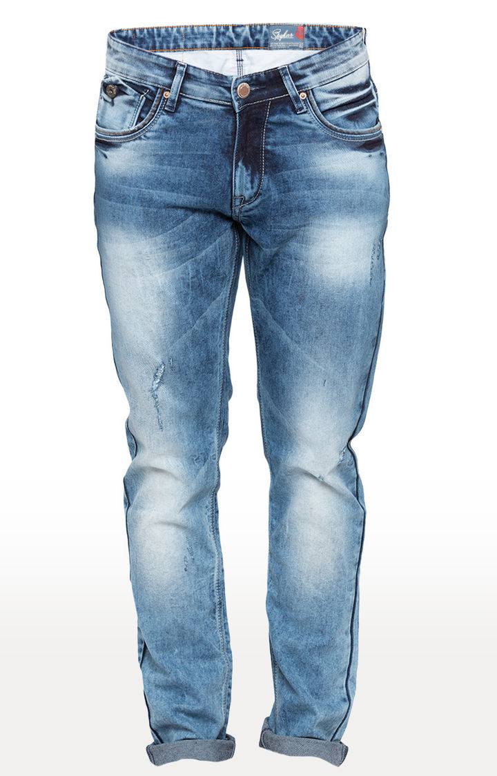 Mid Blue Ripped Skinny Fit Jeans