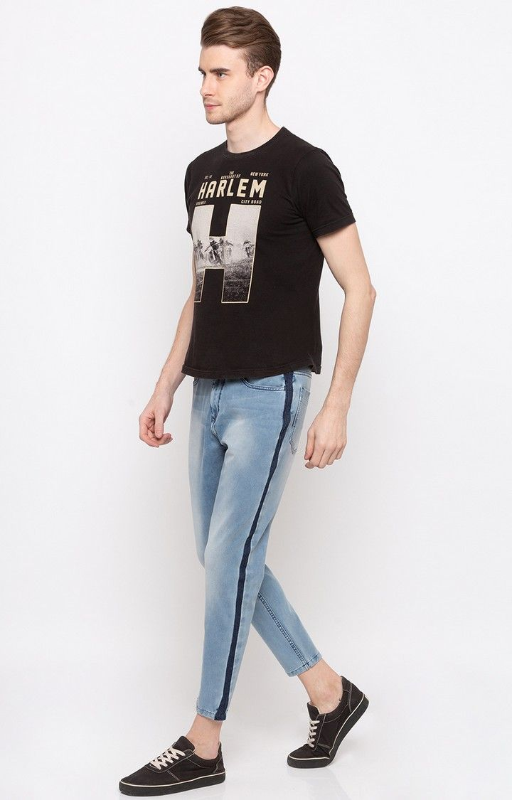 Light Blue Solid Slim Fit Jeans