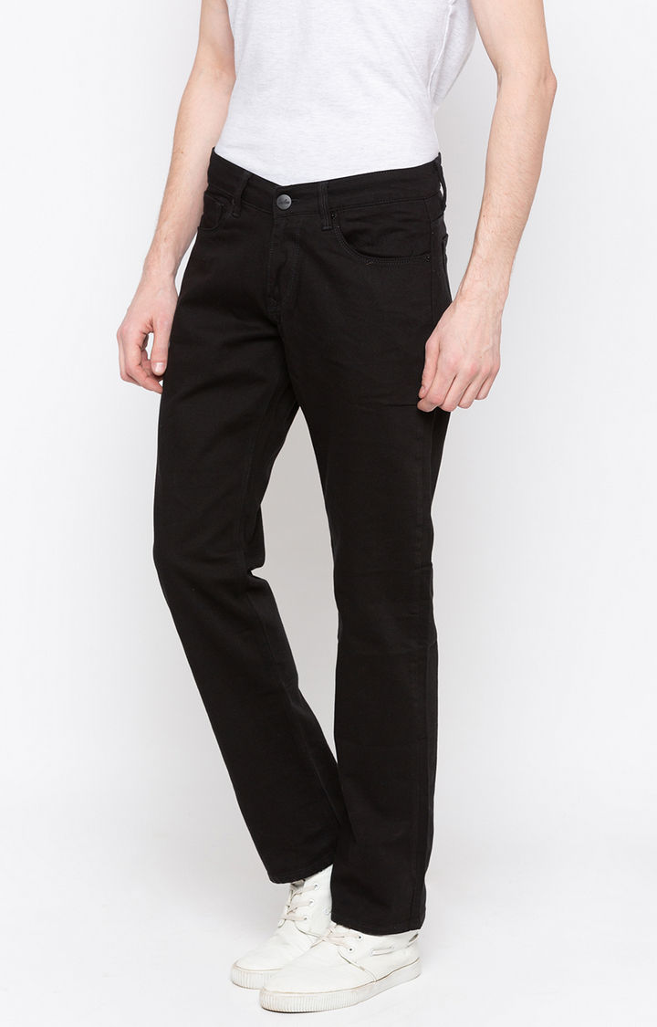 Black Solid Regular Fit Jeans